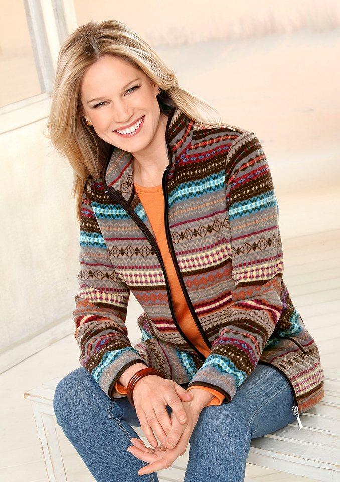 Classic Basics Fleece-Jacke mit schützendem Stehkragen in bunt-bedruckt