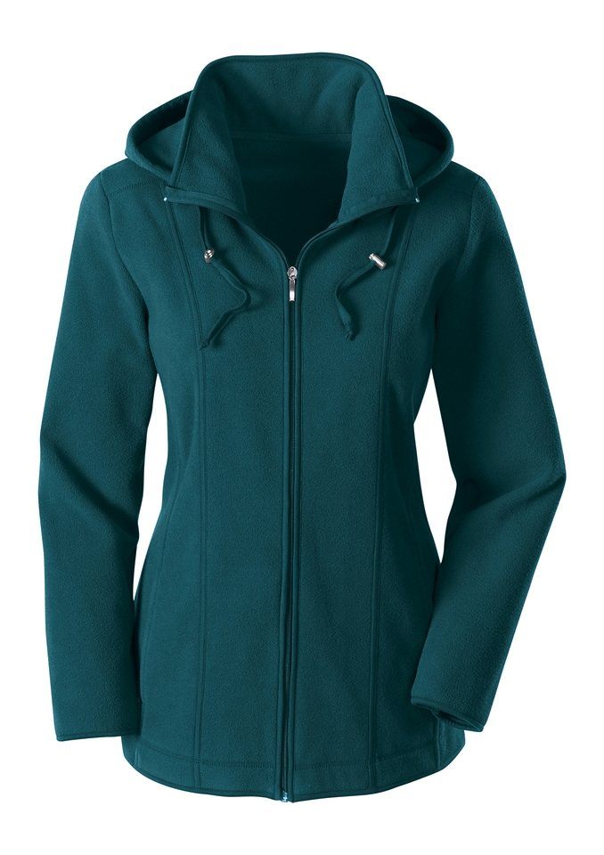 Damen Collection L. Fleece-Jacke mit abnehmbarer Kapuze grün | 08935231346615