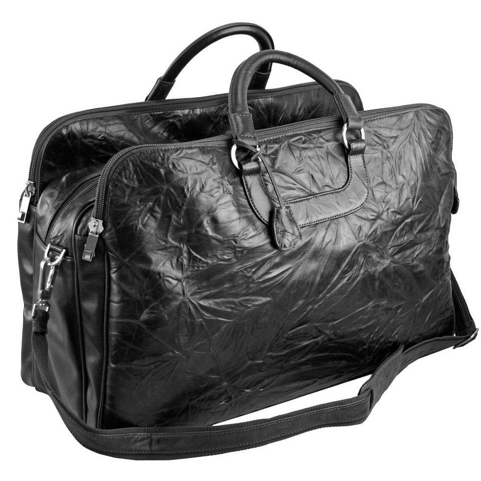Dermata Reisetasche Leder 60 cm in schwarz