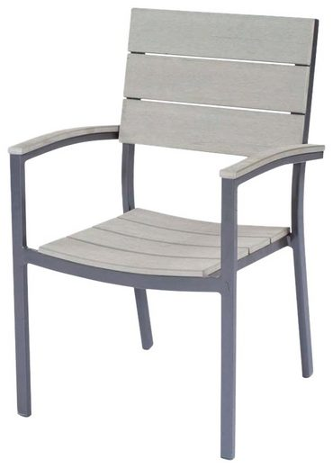 GARDEN PLEASURE Gartenstuhl »OLIVIA«  (2er Set)  Non-Wood  stapelbar  grau
