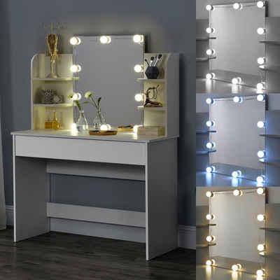 en.casa Schminktisch, »Eda« Frisierkommode mit Schublade Spiegel und LED Beleuchtung 139,5x108x40cm weiß