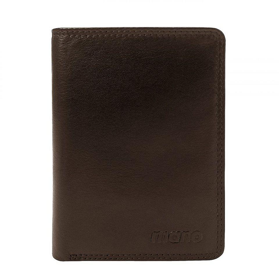 mano Oxford Geldbörse Leder 9,5 cm in dunkelbraun