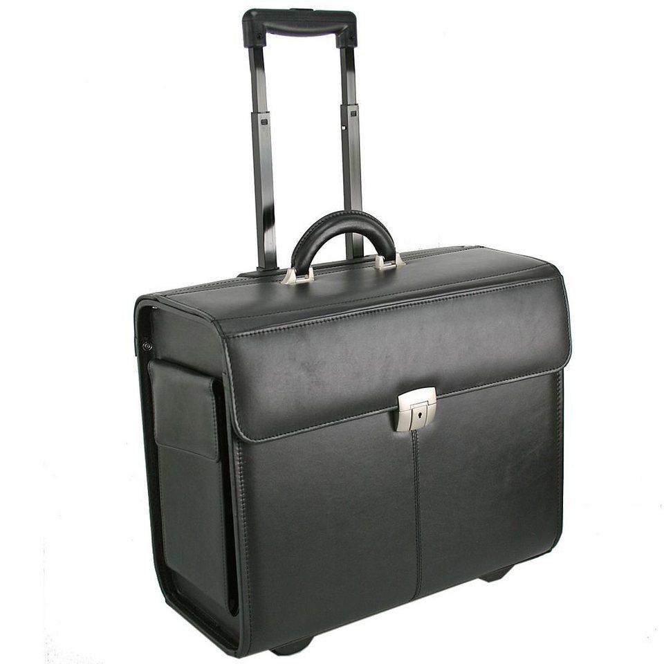 Dermata Pilotenkoffer Trolley Leder 45 cm Laptopfach in schwarz