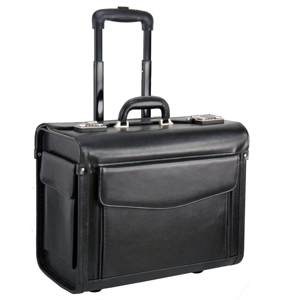 Dermata Pilotenkoffer Trolley Leder 45,5 cm Laptopfach in schwarz