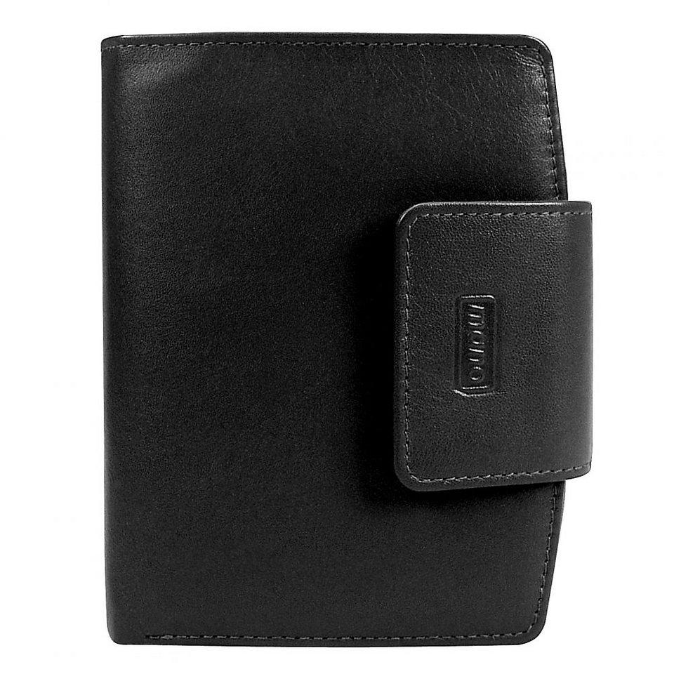mano Basic DeLuxe Damenbörse Leder 10 cm in schwarz