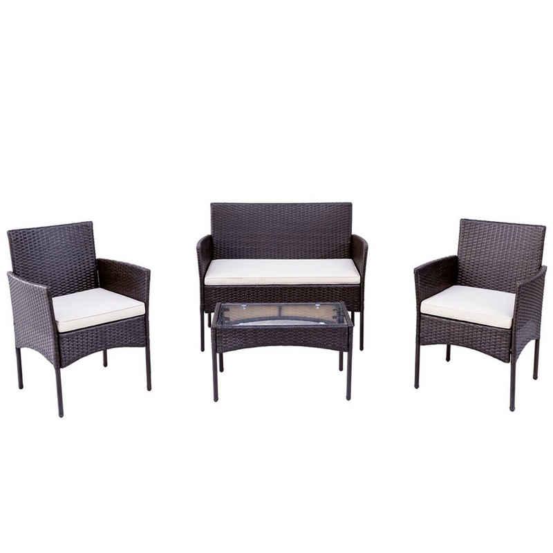 Fortuna Lai Gartenmöbelset »Polyrattan Gartenmöbel«, mit 1 Tisch, 1 Sofa und 2 Stühlen - Balkonmöbel für 4 Personen mit Auflagen