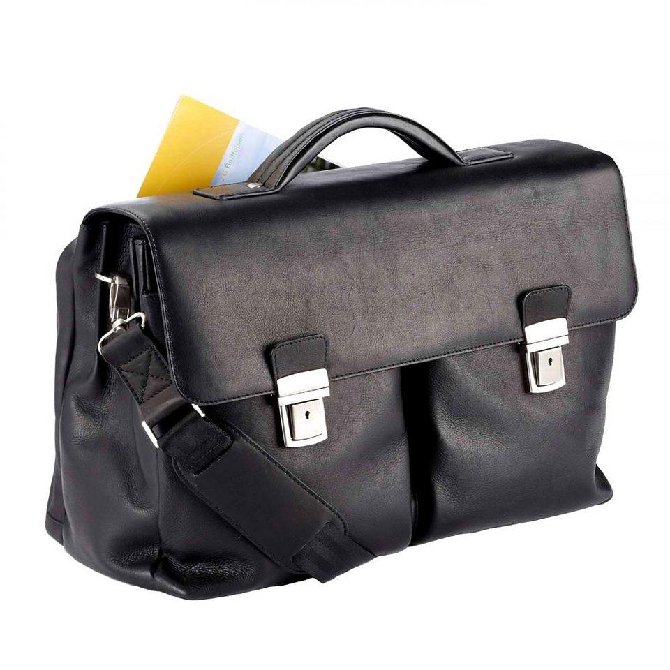 Dermata Aktentasche Leder 43 cm Laptopfach in schwarz
