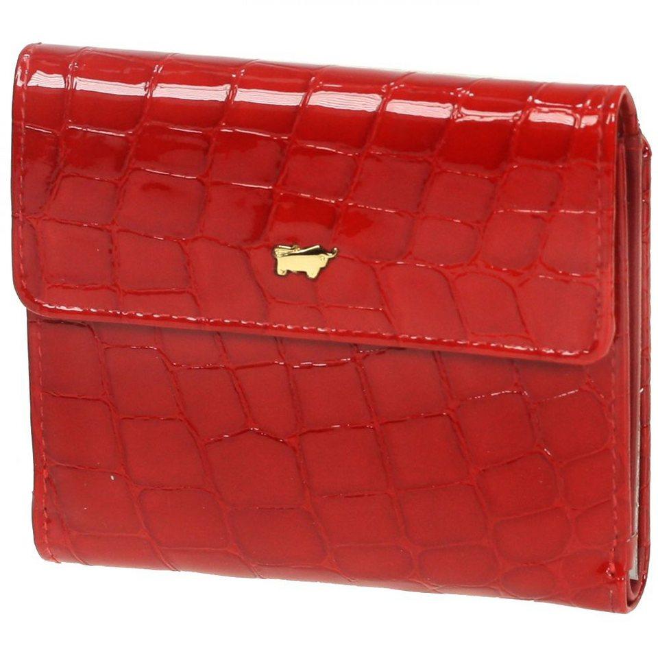 Braun Büffel Glanzkroko Geldbörse Leder 11 cm in rot