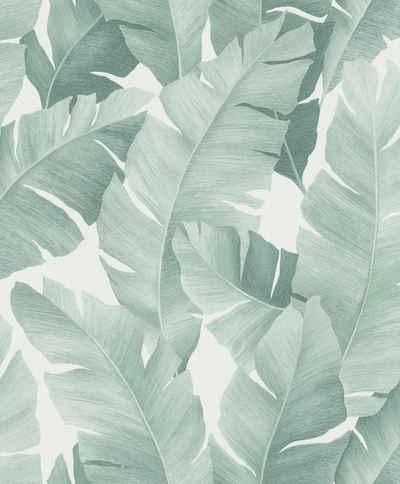 Marburg Vliestapete »weiß-grün«, floral, restlos abziehbar