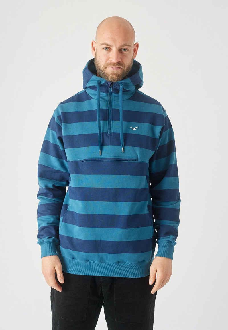 Cleptomanicx Kapuzensweatshirt »Hooded Stripe« mit praktischem Half-Zip