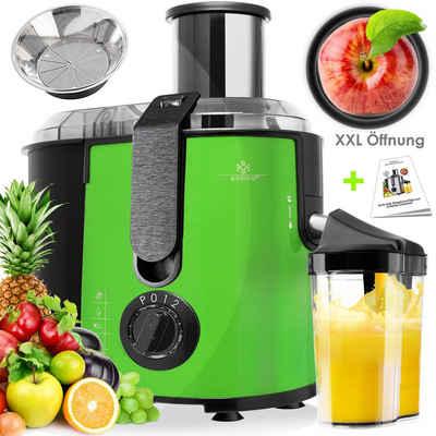 KESSER Entsafter, 1100 W, für Obst und Gemüse aus Edelstahl 1100W große 85 mm Einfüllöffnung inkl. Reinigungsbürste und Saftbehälter 3 Geschwindigkeitsstufen, Saftpresse Juicer