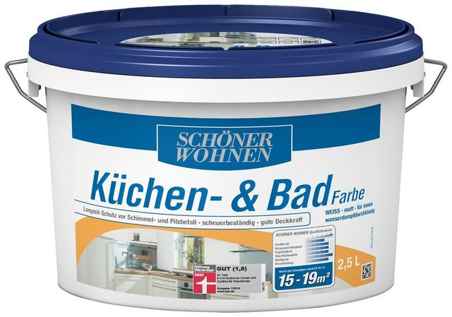 Schöner Wohnen Farbe Küchen- und Badfarbe, weiß