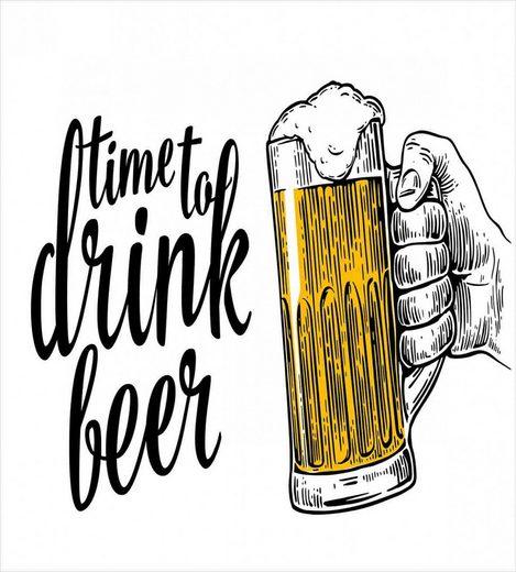 Bettwäsche »Milbensicher Allergiker geeignet mit Kissenbezug«, Abakuhaus, Zitat Time to Drink Beer Man