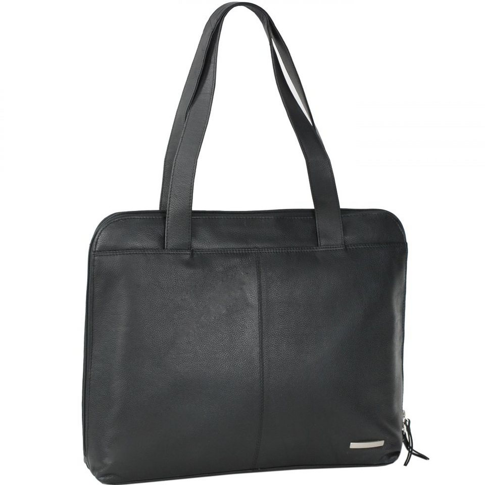 Mika Lederwaren Soft Nappa Damentaschen Shopper Leder 34 cm in schwarz