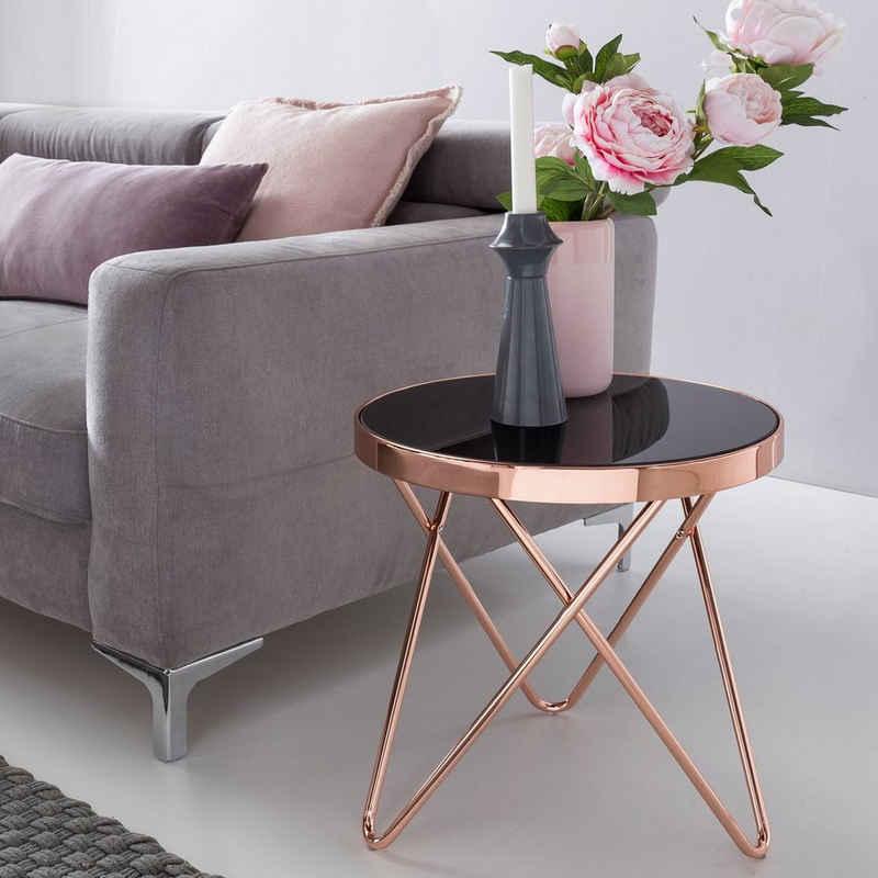 FINEBUY Beistelltisch »FB45663«, Design Couchtisch ROUND MINI ø 42 cm Rund Glas Kupfer Lounge Beistelltisch verspiegelt Moderner Wohnzimmertisch Glastisch Sofatisch Tisch für Wohnzimmer