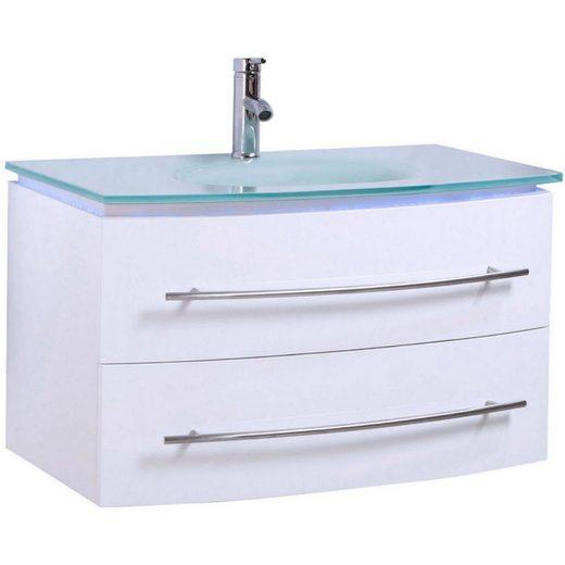 Midori Waschtisch (1-St), Badmöbel Set Waschbecken Badezimmer Badschrank Hochglänzend Spiegel LED Weiß