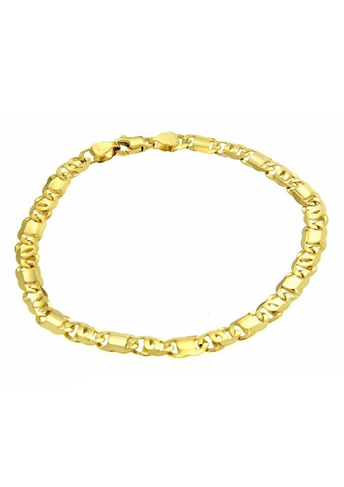 firetti Armschmuck: Armband in Achterpanzerkettengliederung, 6-fach diamantiert in Gold 585