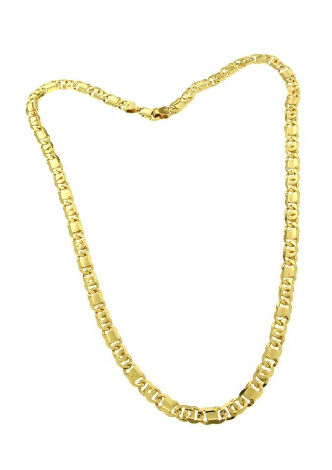 firetti Halsschmuck: Halskette in Achter-Panzerkettengliederung, 6-fach diamantiert in Gelbgold 585