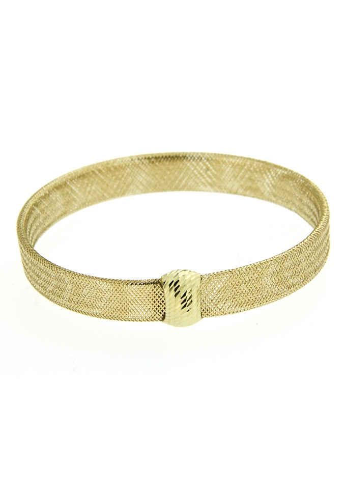 Firetti Goldarmband »Flexarmreif in Meshgliederung, poliert, Element spiegeldiamantiert«