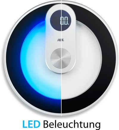 ADE Personenwaage »BE 1700 Iris«, runde Wiegefläche mit LED-Bodenbeleuchtung und -Display sowie aus gehärtetem Sicherheitsglas mit einer Tragkraft von 180kg