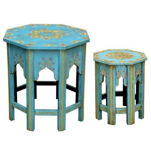 Casa Moro Beistelltisch »Orientalische Beistelltische 2er Set Saada Blau M & L aus Massivholz, hamdbemalte Boho Chic Couchtische Shabby Chic Sofatische, MA-32-47«