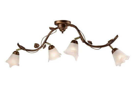 Licht-Erlebnisse Deckenleuchte »LOELLA Große Deckenlampe Metall Glas Shabby Braun floral antik Innen Lampe«