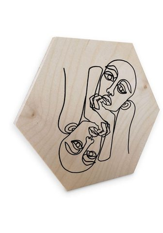 Wall-Art Holzbild »Linework Holzschild Boho Dek...
