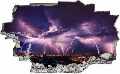 DesFoli Wandtattoo »Blitze Sturm Stadt Unwetter Gewitter C1138«