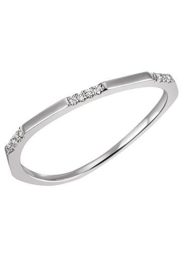 Firetti Diamantring »ca. 1,3 mm breit, Glanzdesign, rhodiniert und massiv«, mit Brillanten