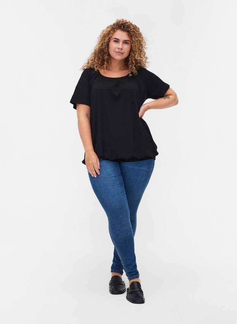 Zizzi T-Shirt Große Größen Damen Basics T-Shirt aus Viskose mit Rundhals