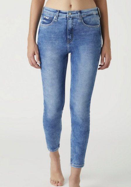 Hosen - Calvin Klein Jeans Skinny fit Jeans »HIGH RISE SUPER SKINNY ANKLE« mit CK Monogramm Logo Stickerei Badge › blau  - Onlineshop OTTO