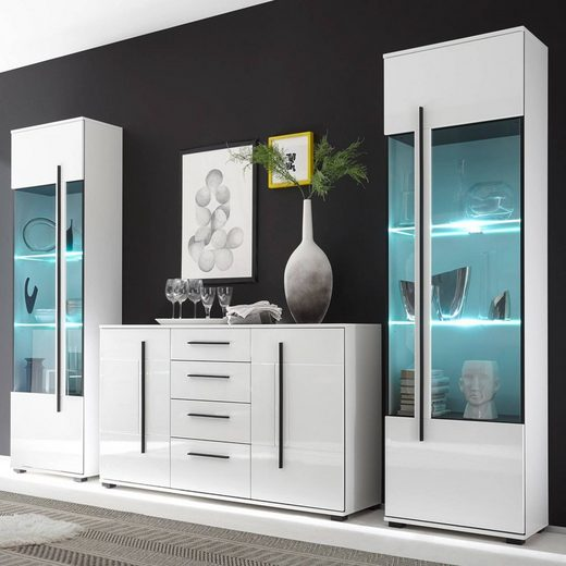 Lomadox Esszimmer-Set »COLORADO-61«, (Spar-Set, 2-tlg), Wohnwand Set in weiß Hochglanz mit 2 Vitrinen inkl. LED und großem Sideboard BxHxT: 300x200x42cm