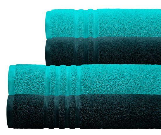 Lashuma Handtuch Set »London« (Set, 4-tlg), Zweifarbiges 4er Frotteetuch Set, 2x Handtuch 50x100 - 2x Duschtuch 70x140