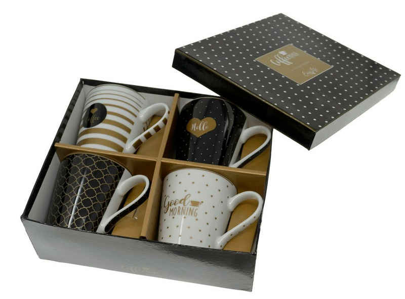 Lashuma Tasse »Frühstück«, Porzellan, Kaffeetassen aus Porzellan, Italienische Trinkbecher 300 ml