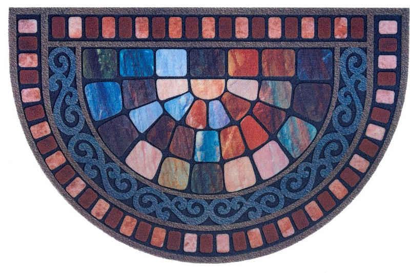 Fußmatte »Vitrage«, DELAVITA, halbrund, Höhe 6 mm, Schmutzmatte, In- und Outdoor geeignet