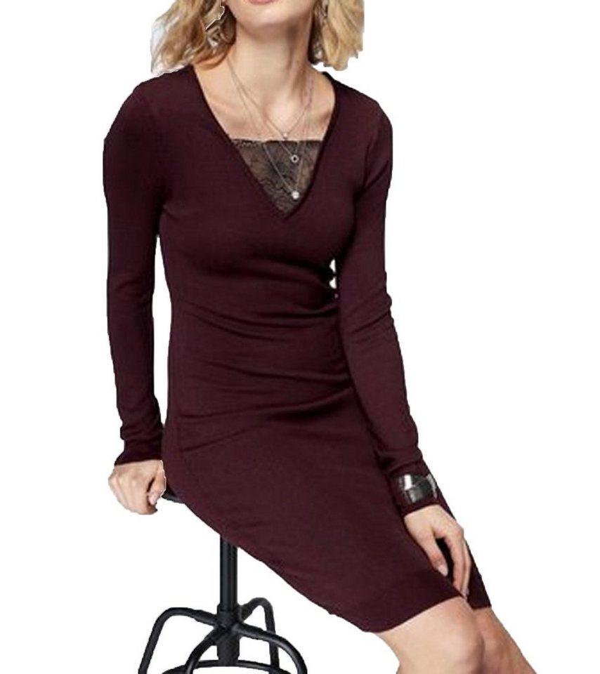 Laura Scott Strickkleid »Laura Scott Herbst Kleid modisches Strick Kleid  für Damen mit Spitze Freizeit Kleid Bordeaux« online kaufen   OTTO