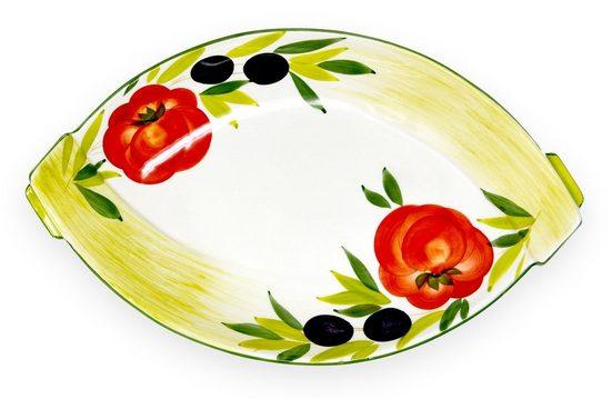 Lashuma Obstschale »Tomate Olive«, Keramik, Servierschale oval, Keramikschüssel 33x20 cm