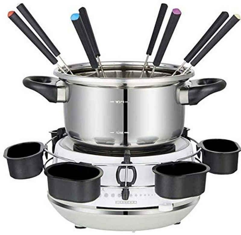 MELISSA Raclette und Fondue-Set 16310230 Elektro-Fondue mit praktischem Drehring mit 6 Saucenbechern, 1200 W