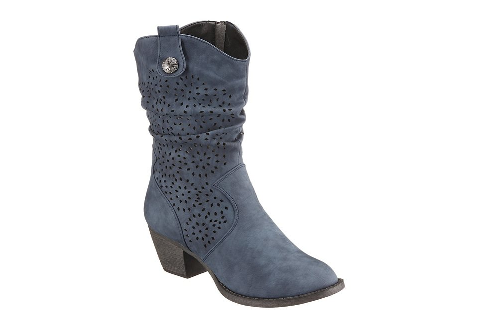City Walk Stiefelette aus Lederimitat mit Laser Cut in blau