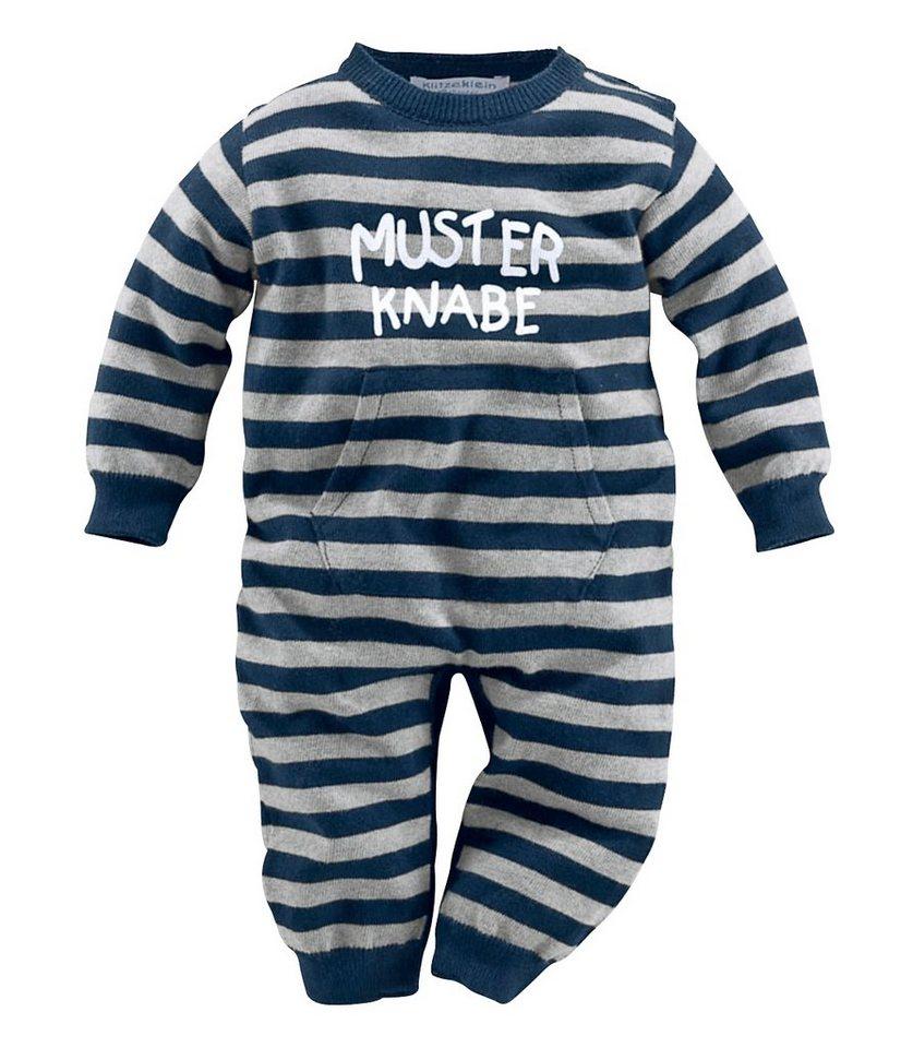 Klitzeklein Strickoverall, für Baby Jungen in marine-grau