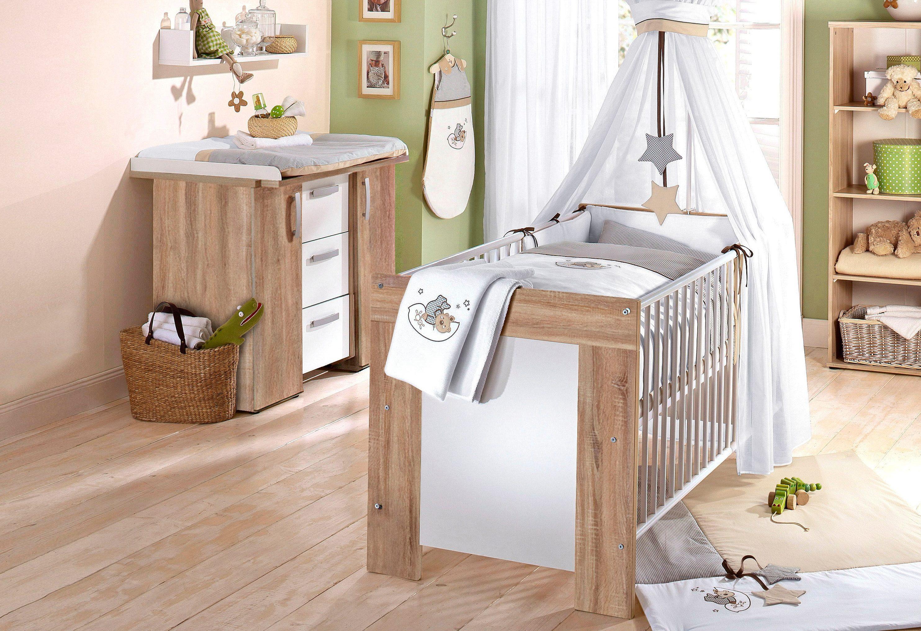 Spar-Set: Babybett und Kommode »Michi« (2-tlg.), in eiche sägerau/ weiß matt