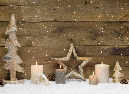 Platzset, »Tischsets I Platzsets - Weihnachten - Weihnachtsdeko - Arrangement aus Holz - 12 Stück aus hochwertigem Papier 44 x 32 cm«, Tischsetmacher, (12-St)
