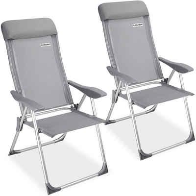 Casaria Klappstuhl (2 Stück), 7-fach verstellbare Rückenlehne • platzsparend klappbar • wetterfestes Aluminium • atmungsaktive Sitzfläche • hohe Belastbarkeit • geringes Eigengewicht • pflegeleicht und abwaschbar