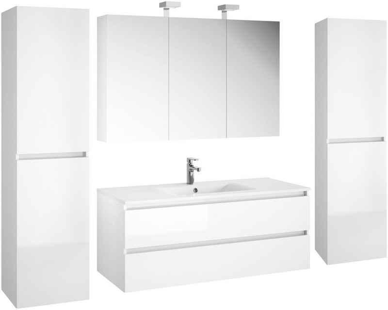 Allibert Badmöbel-Set »Alma«, (5-St), bestehend aus Waschplatz, Spiegelschrankmit 2 Aufsatzleuchten und 2 Hochschränken