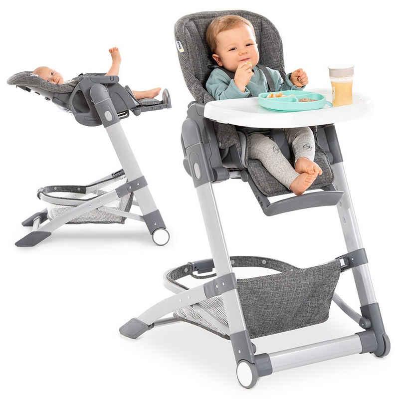 Hauck Hochstuhl »Grow Up - Melange Grey«, Babystuhl ab Geburt mit Liegefunktion - inkl. Tisch, Rollen, klappbar, mitwachsend und höhenverstellbar