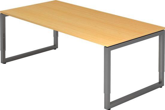 bümö Schreibtisch »OM-RS2E-G«, höhenverstellbar - Rechteck: 200x100 cm - Gestell: Graphit, Dekor: Buche