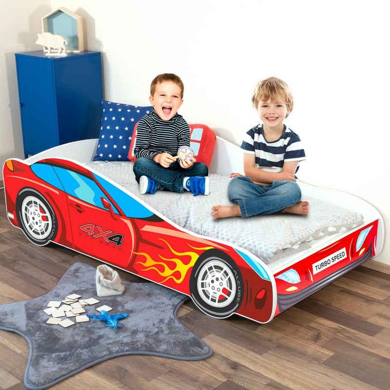 Alcube Rennwagenbett »BURNING FLAME«, Autobett 70x140 cm für kleine Rennfahrer im PKW BURNING FLAME CAR Design ohne Matratze, mit Lattenrost und Rausfallschutz, FSC-zertifiziert