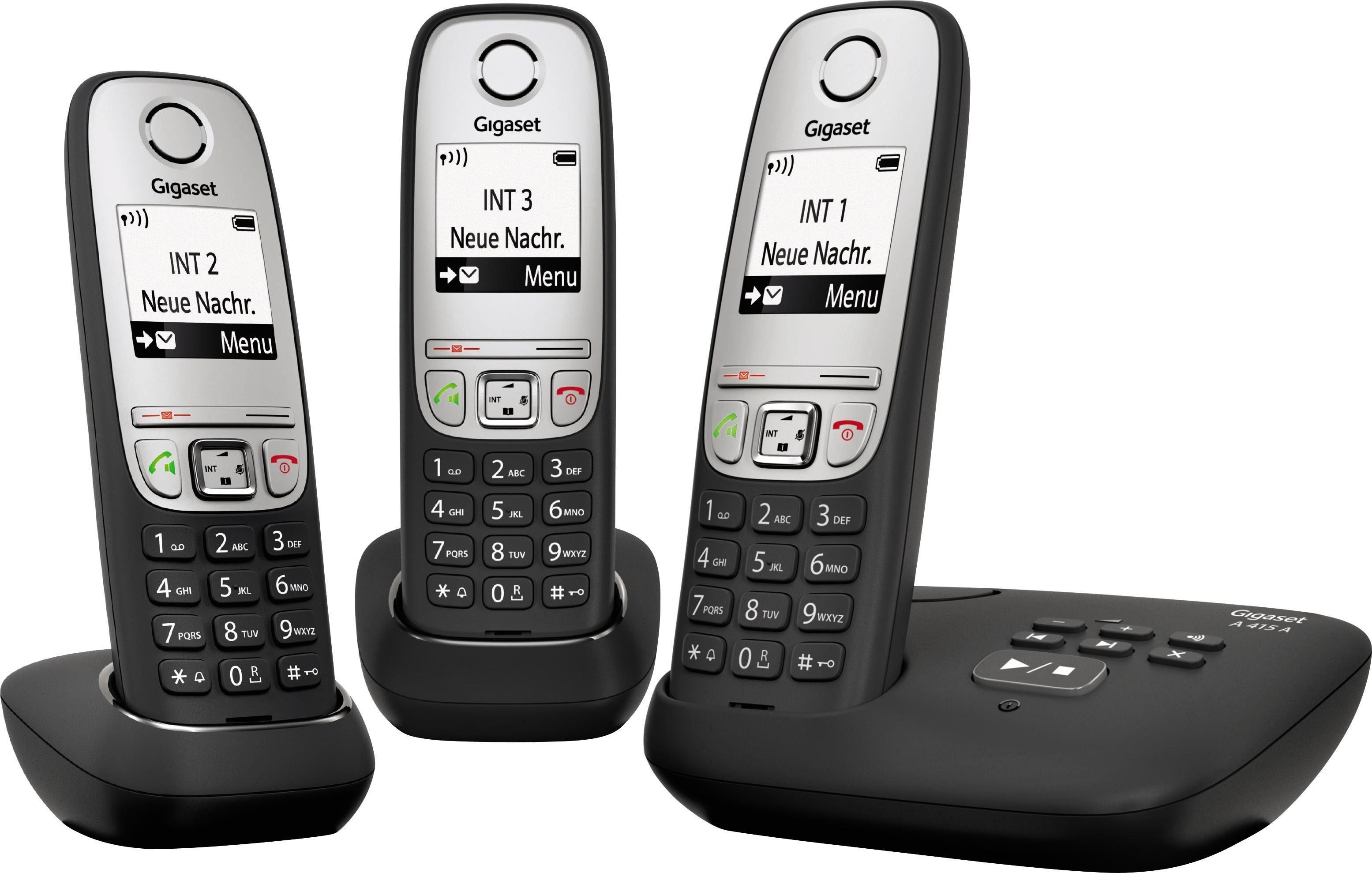 Gigaset A415A TRIO Schnurloses DECT Telefon-Set mit AB