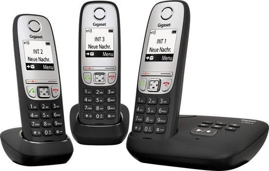 Gigaset »A415A Trio« Schnurloses DECT-Telefon (Mobilteile: 3, mit Anrufbeantworter, Nachtmodis, Freisprechen)