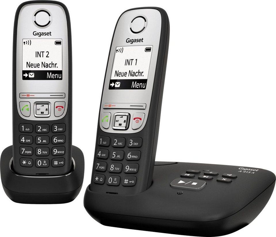 Gigaset A415A DUO Schnurloses DECT Telefon-Set mit AB in schwarz